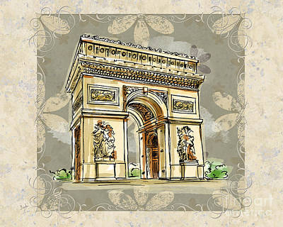 Structure Mixed Media - Champs Elysees Paris by Bedros Awak