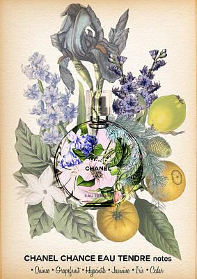 Chanel Chance Eau Tendre Perfume Notes 3 Print by Diana Van