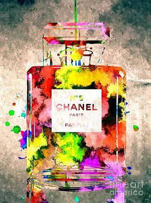 Chanel No 5 Grunge Print by Daniel Janda