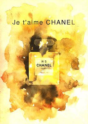 Chanel No. 5 Watercolor Poster 2 - By Diana Van Print by Diana Van