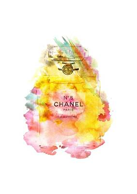 Chanel No. 5 Watercolor Poster 4 Transparent Image - By Diana Van Print by Diana Van