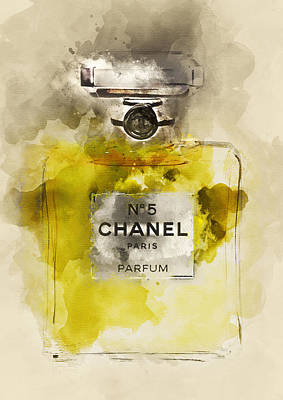 Fashion Painting - Chanel No. 5 Watercolor Poster 5 - By Diana Van by Diana Van