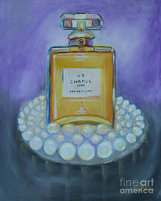 Katherine Hepburn Painting - Chanel No 5 With Pearls Painting by To-Tam Gerwe