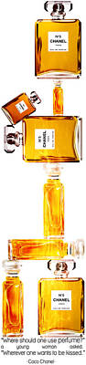Chanel Painting - Chanel Perfume Bottles by Diana Van