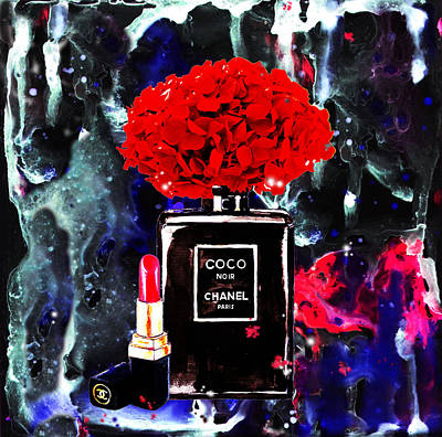 Noir Digital Art - Chanel Poster Chanel Print Chanel Perfume Print Chanel With Red Hydragenia by Del Art