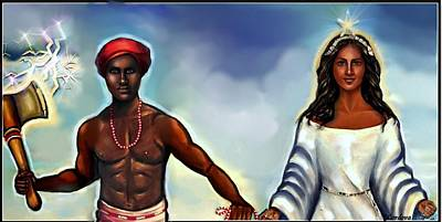 Yemaya Painting - Chango And Yemaya Together by Carmen Cordova