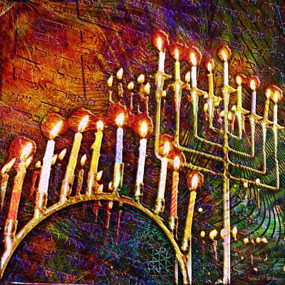 Judaica Digital Art - Chanukiah by Barbara Berney