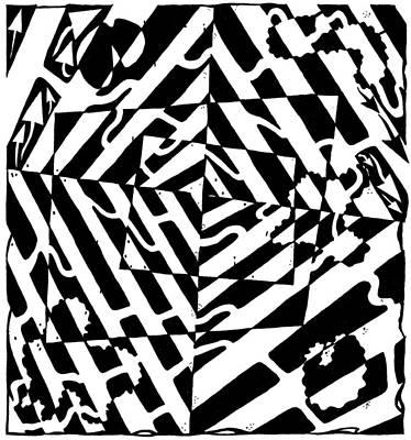 Frimer Drawing - Chaos Maze Optical Illusion by Yonatan Frimer Maze Artist