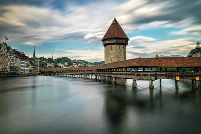 Chapel Bridge In Lucerne Print by James Udall