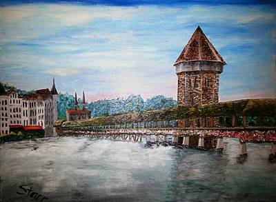 Covered Bridge Painting - Chapel Bridge Lucerne Switzerland by Irving Starr