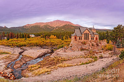 Chapel On The Rock And Long's Peak In The Fall - Peak To Peak Highway Estes Park Colorado Print by Silvio Ligutti