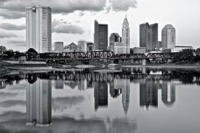 Ohio Photograph - Charcoal Columbus Mirror Image by Frozen in Time Fine Art Photography