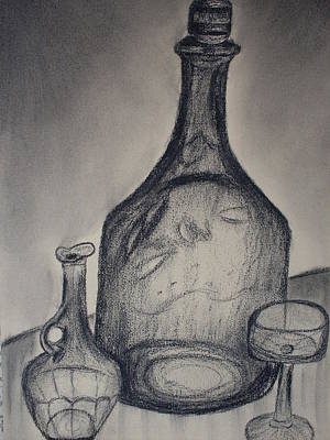 Glass Bottle Drawing - Charcoal  Glass by Emily Ruth Thompson
