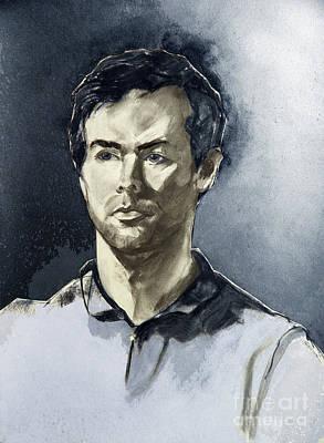 Digital Drawing - Charcoal Portrait Of A Man In Blue by Greta Corens