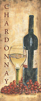 Wine-bottle Painting - Chardonnay Wine And Grapes by Debbie DeWitt