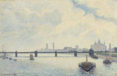 Charing Cross Bridge - London Print by Camille Pissarro