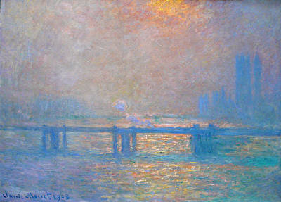Train Painting - Charing Cross Bridge, The Thames by Claude Monet
