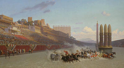 Sports Painting - Chariot Race by Jean Leon Gerome