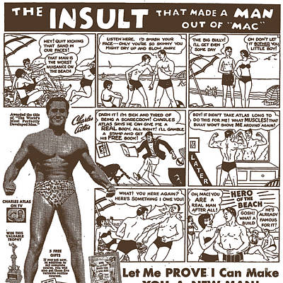 Comic Strip Photograph - Charles Atlas Manly Man by Edward Fielding
