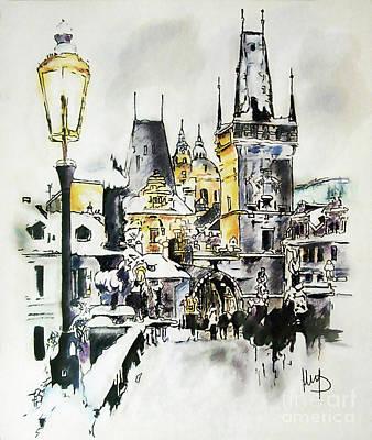 Prague Mixed Media - Charles Bridge In Winter by Melanie D