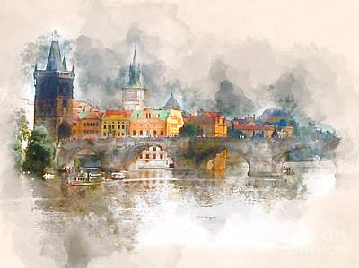 Vltava River Digital Art - Charles Bridge - Prague, Czech Republic by Shirley Stalter
