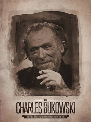 Poster Digital Art - Charles Bukowski 02 by Afterdarkness
