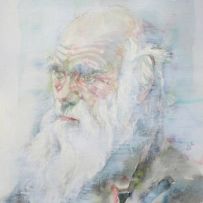 Darwin Painting - Charles Darwin - Watercolor Portrait.6 by Fabrizio Cassetta
