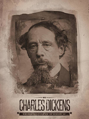 Sepia Digital Art - Charles Dickens 01 by Afterdarkness
