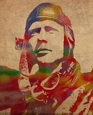 Atlantic Ocean Mixed Media - Charles Lindbergh Watercolor Portrait by Design Turnpike
