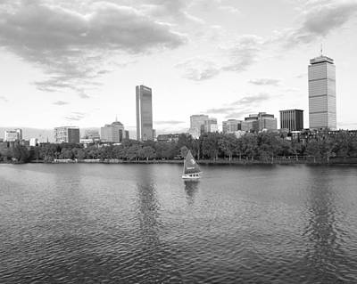 Hancock Building Digital Art - Charles River Sailboat Black And White by Toby McGuire