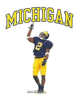 University Of Michigan Mixed Media - Charles Woodson by Chris Brown