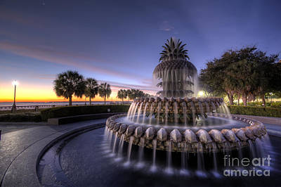 Pineapple Digital Art - Charleston Pineapple Fountain Sunrise by Dustin K Ryan