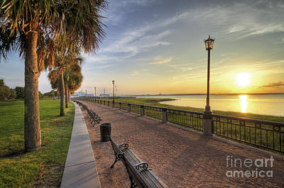 Benches Digital Art - Charleston Sc Waterfront Park Sunrise  by Dustin K Ryan