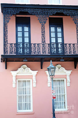 Charleston The Mills House Lace Balconies And Window Architecture - Charleston Historical District Print by Kathy Fornal