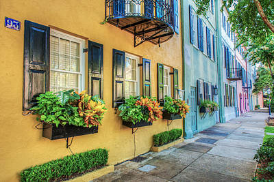 Balcony Photograph - Charleston's Rainbow Row by Drew Castelhano