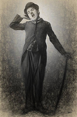 Chaplin Drawn Print by Joaquin Abella