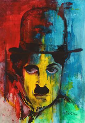 Coman Painting - Charlie Chaplin Portrait 1 by Florin Coman