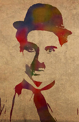 Charlie Chaplin Watercolor Portrait Silent Movie Vintage Actor On Worn Distressed Canvas Print by Design Turnpike