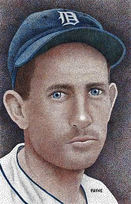 Baseball All Stars Drawing - Charlie Gehringer by Rob Payne