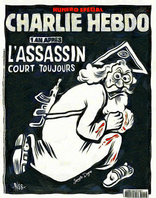 Terrorist Digital Art - Charlie Hebdo One Year Later - Da by Leonardo Digenio