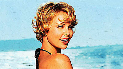 Charlize Theron Print by Queso Espinosa