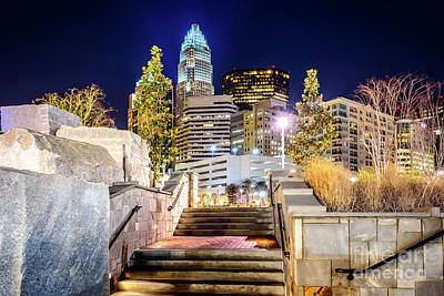 Downtown Stairs Photograph - Charlotte At Night With Romare Bearden Park by Paul Velgos