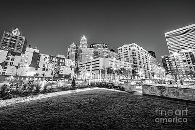 Charlotte City Black And White Photo Print by Paul Velgos