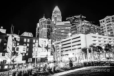Charlotte Nc Downtown Black And White Photo Print by Paul Velgos