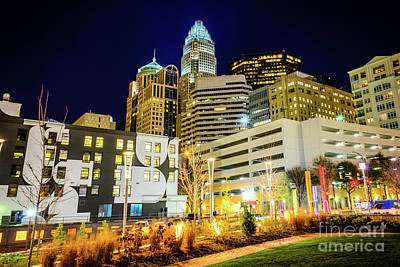 Charlotte Nc Downtown City At Night Photo Print by Paul Velgos