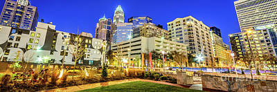 Charlotte Nc Photograph - Charlotte North Carolina At Night Panorama Photo by Paul Velgos