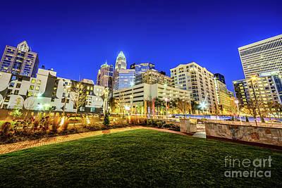 Charlotte North Carolina At Night Print by Paul Velgos