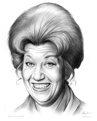 Charlotte Drawing - Charlotte Rae by Greg Joens