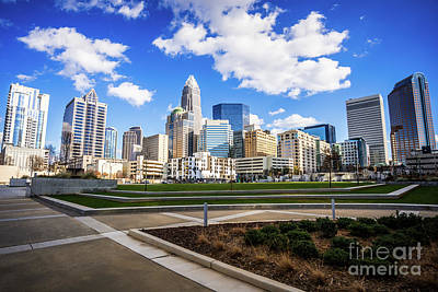 Charlotte Skyline At Romare Bearden Park Print by Paul Velgos