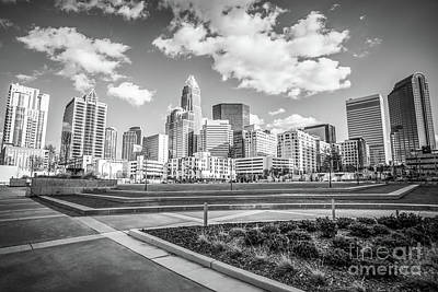Charlotte Skyline Black And White Image Print by Paul Velgos